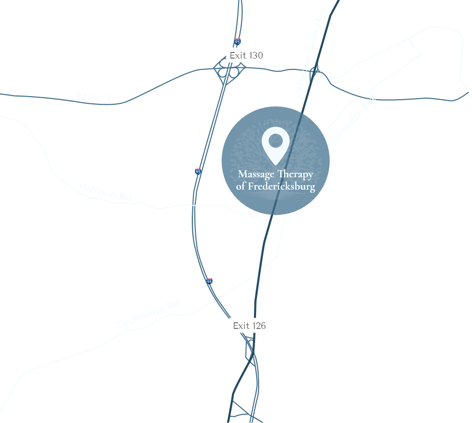 Map of location of Massage Therapy of Fredericksburg